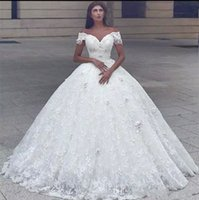 Wholesale sweetheart off shoulder princess wedding dresses resale online - 2018 Arabic Sweetheart Ball Gown Wedding Dresses Off Shoulder D Flowers Beaded Pearl Lace Princess Floor Length Puffy Plus Size Bridal Gown