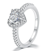 neue herzform ringe großhandel-Neue Schmuck Platin Herzförmigen Zirkon Ring Weiblichen Ring Eleganz Europäischen Pandora Stil Schmuck Charm Ring Geschenk