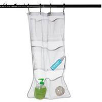 ingrosso vasca da bagno vasca-6 tasca bagno vasca doccia vasca appesa organizer in rete caddy borsa di stoccaggio + gancio doccia organizer accessori per il bagno 63x36 cm