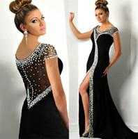 einzigartig plus size prom kleider ärmel großhandel-Sexy Scoop Neck Prom Abendkleid einzigartige schwarze Perlen Kristalle Langarm formale Party Kleid Plus Size Custom Made