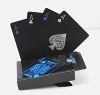 barajas de cartas magicas al por mayor-Alta calidad negro PVC plástico poker impermeable Magic Box-packed naipes regalo creativo 54pcs cubierta de póquer Classic Magic trucos herramienta