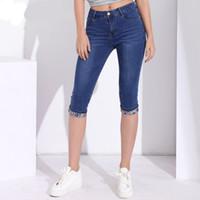 ingrosso capri denim di lunghezza ginocchio-Jeans skinny estivi Capris Pantaloni da donna in denim elasticizzati al ginocchio Jeans a vita alta Jeans da donna Plus Size Short Jean Vendita calda