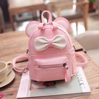 sırt çantası sevimli kadın toptan satış-Güzel Mickey Mini Sırt Çantası Femalle Küçük Yay PU Deri Okul Çantası Gençler Kızlar Için Sevimli Sırt Çantaları Schoolbag Mochila