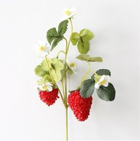 Wholesale mulberries flowers - The artificial flower strawberry mulberry with two big fruits decoration was used to simulate fruit by hand DIY materials about 26cm BP056