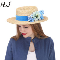 51e8c8248ca Fashion Women Summer Wheat Straw Sun Hat Lady Beach Wide Brim Flat Boater  Hat With Handmade Blue Flower Size 56-58CM