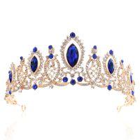 coroa nupcial azul venda por atacado-2019 Princesa Cristais Coroa de Casamento Tiaras de Noivas Barroco Rainha Rei Coroa Claro Royal Blue Red Rhinestone Nupcial Tiara Coroa