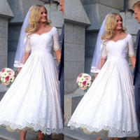Wholesale Custom Bridal Gowns China - 2018 Vintage Tea Length Wedding Dress With Sleeves Vestido De Noiva Lace Appliques Custom Made Short Bridal Gowns From China Cheap