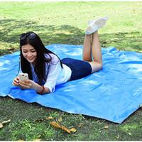 большой открытый мат для пляжа оптовых-Thick 210D Nylon Camping Mat Large Moisture proof Groundsheet Picnic Pad Tarp Sand Beach Pad Tent Awning Outdoor Sleeping Mat