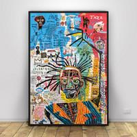 gesicht malerei für kinder großhandel-Jean Michel Basquiat Kunst Silk Print Home Schmuck Poster