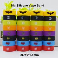 ingrosso batman superman hulk-Superman Batman Hulk Superhero Silicone Vape Band Silicon Beauty Anello decorativo per TFV8 Big Baby TFV12 Prince Glass Serbatoi 26 * 10 * 1.5mm