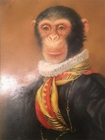 Wholesale baroque paintings resale online - Framed quot MONKEY SPANISH BAROQUE quot Handpainted Modern Animals Art Oil Painting Home Wall Decor Quality Canvas size can be customized Rk49