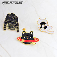 Wholesale Wholesale Music Cds - QIHE JEWELRY Pins and brooches Space cat,music CD cat,black sweater pins Cat pins Badges Hard enamel lapel pin Cat jewelry