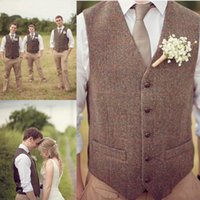 Wholesale mens double vests - Groom Vests Country Farm Wedding Brown Wool Herringbone Tweed Vests Custom Made Groom Vest Slim Fit Mens Suit Vest Prom Wedding Waistcoat