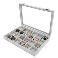 Wholesale necklace earring jewelry holders for sale - Ice Floral Cashmere Transparent Belt Cover Jewelry Display Box Ring Earring Necklaces Makeup Holder Case Jewellery Boxes yc gg