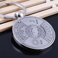 Wholesale wholesale trend ring online - Trend Round Shape Keychain Compass Creative Fashion Keys Rings Perpetual Calendar Metal Unisex Currency Key Buckle cs ii