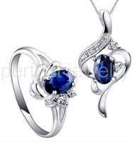anillos de zafiro natural plata de ley al por mayor-Juego de zafiros Envío gratis por joyería Juego de zafiros naturales incluyendo anillo / colgante de plata de ley 925 0.6ct * 2pcs gemas