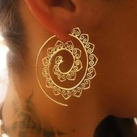 indische mode ohrring reifen großhandel-Verzierte Swirl Hoop Gypsy Indian Tribal Ethnic Ohrringe Boho Ohrringe für Frauen Schmuck Großhandel DIY Modeschmuck Zubehör