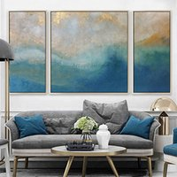 acrílico pintura paisajes marinos al por mayor-3 piezas de pintura abstracta azul marino del paisaje marino en la pared de la lona Imágenes del arte para la sala de estar quadros caudros decoración pintura acrílica