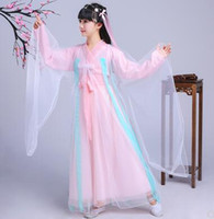 Wholesale yellow children s dresses online - 2018 new style children Cosplay female celestial Dress Pink cloth White yarn Dance Conjoined clothes short style