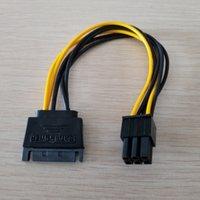 tarjetas de video pcie al por mayor-15Pin SATA a PCI-E 6Pin Adaptador Cable de fuente de alimentación CORD 18AWG Cable para PCIe Graphics Video Display Card para PC DIY 20cm
