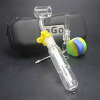 kavanoz kaşığı toptan satış-10mm 14mm 18mm Ego Çanta Ile Bal Kuş Kitleri 45 derece Banger Kuvars Nail İpuçları Silikon Kavanoz Grace Cam Kaşık Su Bongs Borular