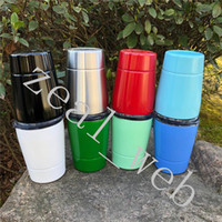 Wholesale double walled tumbler stainless - Double walled 9oz toddler tumblers Vacuum Insulated kid mug Stainless Steel sippy cup with lid with clear straw