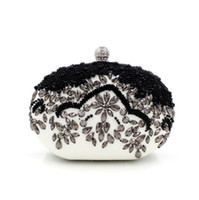ingrosso sacchetto di sera in rilievo nero-Pochette da sera classica nera e bianca con pochette ovale piccola pochette da donna