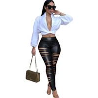 Wholesale Leather Pants Style Women - New Punk Style Leather Jumpsuit Women Hole Cut Out Bodysuit Women Legging Black Party Long Pants Playsuit