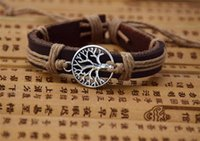 Wholesale cow plates - Simple Coffee Cow Leather Bracelet Cool Life Tree Wishing Charm Bracelet Wristband Jewelry Holiday Gift for Unisex