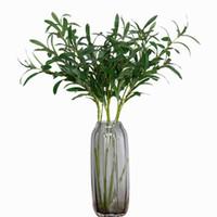 vase de fleurs toucher réel achat en gros de-Plantes artificielles Branche d'olivier Plante artificielle au toucher Touche verte Plante verte Feuilles artificielles Fleurs artificielles pour Vase Décoration de mariage