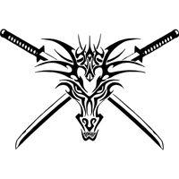 Wholesale Sticker Tribal - Tribal Dragon Head Sword Creature Car Truck Window Laptop Vinyl Decal Sticker