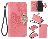 Wholesale Diamond Iphone 5s Cases - Diamond Leather Wallet Case with Card Slot Braided Rope Flip Stand Case Cover For iPhone X 8 7 6 Plus 5s Samsung S8 Plus Note 8