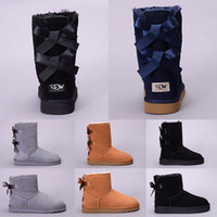 Wholesale casual shoes shorts for sale - Group buy Women Winter Snow Boots Australia WGG Boot Lady Girl Tall Short kneel Ankle Black Grey Navy Blue Red Casual Outdoor Shoes