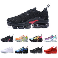 Discount spring soccer - 2018 Newest TN Plus Shoes Men Shoes TRIPLE BLACK Black Red Cool Grey For Running Male Shoe Pack Triple Black Mens Shoes