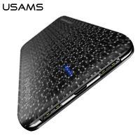 şarj edilebilir harici pil takımı toptan satış-USAMS Güç Bankası 15mm Ultra Ince 10000 mAh Powerbank Cep Telefonu 2.1A Çıkış 10000 mah Harici Pil