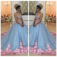 güzel mavi çiçekler toptan satış-2018 Güzel Bebek Mavi 3D Çiçek Aplikler Maskeli Şapel Tren Çiçekler Quinceanera Elbiseler Balo Abiye Sweety Kızlar 16 Yıl Elbise