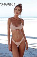 ingrosso bikini blu marrone-Bikini sexy triangolo imbottito reggiseno push-up throng costumi da bagno bikini solido bianco nero blu marrone costume da bagno costume da bagno costumi da bagno capestro top plaid