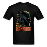 pamuk süper kahraman tişörtler toptan satış-Wakanda kralı T-shirt Erkekler Siyah Panter Tops Tees Yaz Pamuk Giyim 3D T Gömlek Film Tişörtleri Superhero