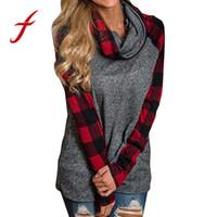 kapuzen-tunika l großhandel-Feitong Womens Sweatshirts Hoodies Kausal Patchwork Rollkragen Tops Karo Tunika Long Sleeve Sweater sudaderas mujer