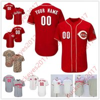 Wholesale red scooters - Custom Stitched Any name Any number #3 Scooter Gennett 6 Billy Hamilton 19 Joey Votto Camo Gray White Jerseys S-4XL