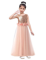 Wholesale christmas stocking cheap - 2018 In Stock Long Sequin Top Tulle Flower Girl Dresses Wedding Party Ball Gowns Cheap Hot Sale Under 50$