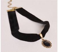 cadeia de gema negra venda por atacado-Atacado-New Fashion Black couro de imitação Gargantilha Colar Gothic Chain Charme Gem Pingente Vintage Jóias