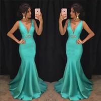 vestido de noche largo aqua al por mayor-Aqua vestidos de baile 2019 elegante sirena africanos vestidos de fiesta por la noche cuello en V profundo vestidos de celebridades mujeres perlas cristales largos baratos