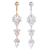 body jewelry venda por atacado-D0684 (2 cores) estilos Agradáveis cor clara Umbigo Umbigo anel piercing jewlery corpo 1.6 * 11 * 5/8 anel da barriga Jóia Do Corpo