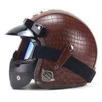 Wholesale Vintage Scooter Helmet Xl - Motorcycle Helmet New Retro Vintage Synthetic Leather Open Face Motorbike Helmet Scooter Cruiser Chopper Casco Moto DOT