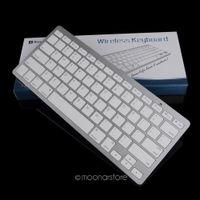 teclado ultra delgado bluetooth al por mayor-Teclado inalámbrico ultraplano portátil durable del diseño Bluetooth 3.0 de la plata para el iPad para el libro de Mac / computadora de la PC