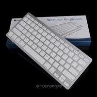 ultra dünne bluetooth tastatur großhandel-Tragbare langlebige Silber Ultra Thin Design Bluetooth 3.0 Wireless-Tastatur für iPad für Mac Book / PC Computer