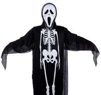 antike masken großhandel-Horror Maske Skull Kleidung Kostüm Set mit Handschuhen Vollgesichts Antique Masken Halloween Maske Maskerade Party Kostüm Cosplay Maske