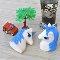 mavi gül takılar toptan satış-Unicorn Squishy Jumbo Kawaii Squeeze Squishies Yavaş Ribaund Yükselen Telefon Charm Hayvan Simülasyon At Başkanı Mavi Güzel 7bba V