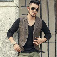 ingrosso maglia invernale stile uomo-Gilet Uomo Casual Slim Dress Suit Gilet Maschile stile britannico vestito lavorato a maglia Vest Button Uomo Wedding Vest Trend 4 Gilet Winter